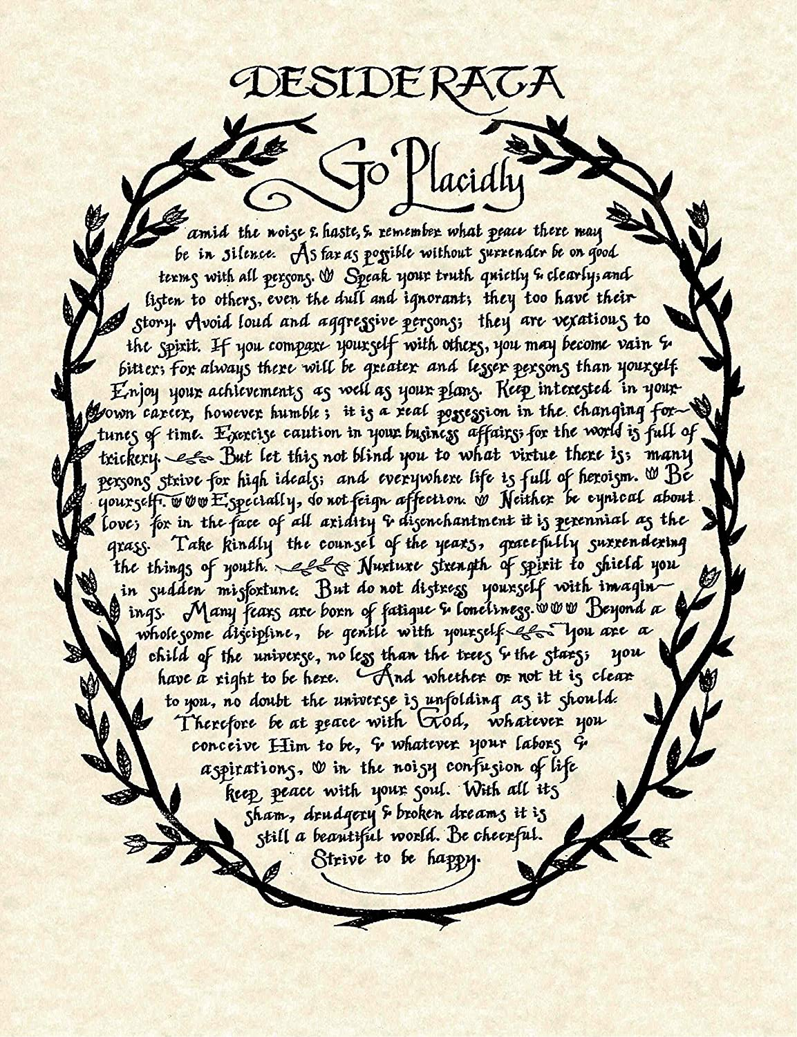 image relating to Desiderata Printable named : Desiderata Poem inside Wreath Print in opposition to Authentic