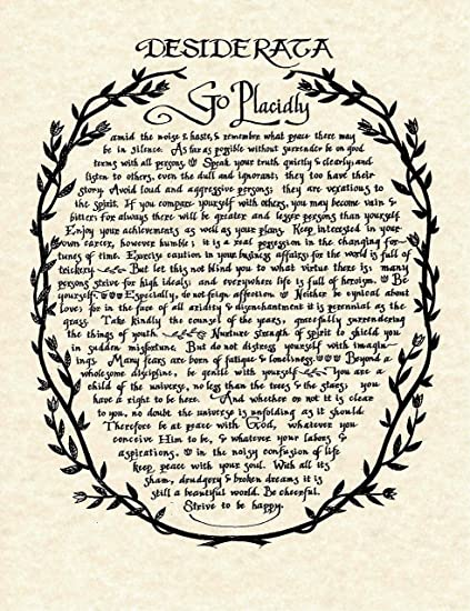 graphic regarding The Desiderata Poem Printable named : Desiderata Poem in just Wreath Print towards Primary