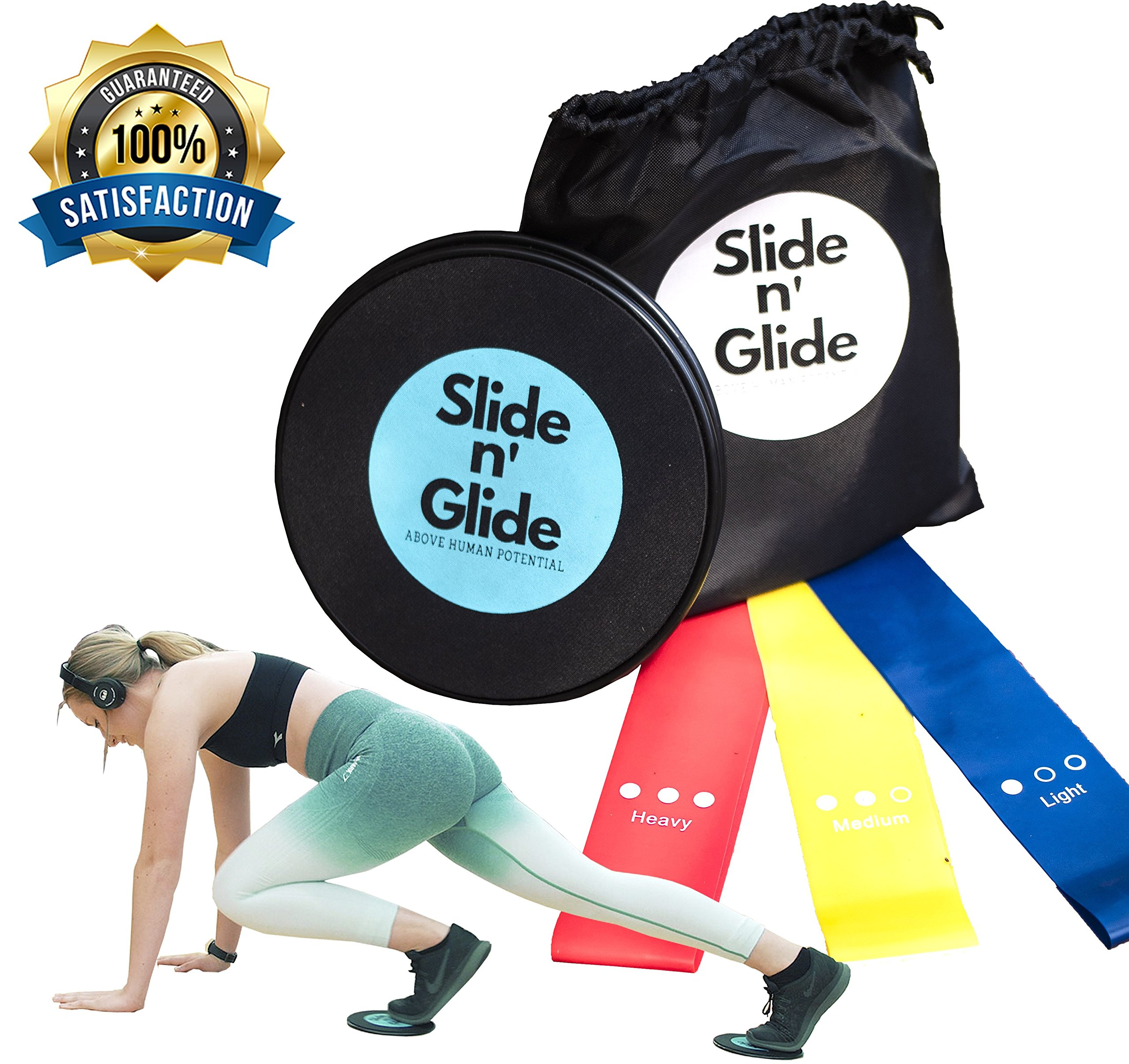 Gliding Discs and Resistance Bands, Core Sliders and 3 Exercise Resistance Loop Bands, Sliding Discs and Core Exercise Equipment for Intense, Low-Impact Exercises to Strengthen Core, Glutes, and Abs