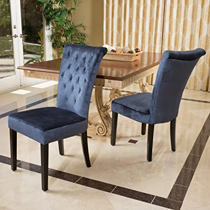 Terrific Christopher Knight Home 229831 Juliette Blue Velvet Dining Chairs Set Of 2 Machost Co Dining Chair Design Ideas Machostcouk