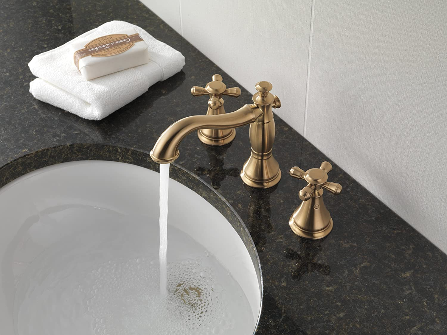 Delta Faucet 3597LF CZMPU Cassidy Two Handle Wide Spread Bathroom With  Metal Pop Up, Champagne Bronze   Touch On Bathroom Sink Faucets   Amazon.com
