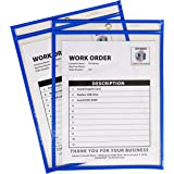 C-Line Neon Stitched Shop Ticket Holders, Blue, Both Sides Clear, 9 x 12 Inches, 15 per Box (43915)