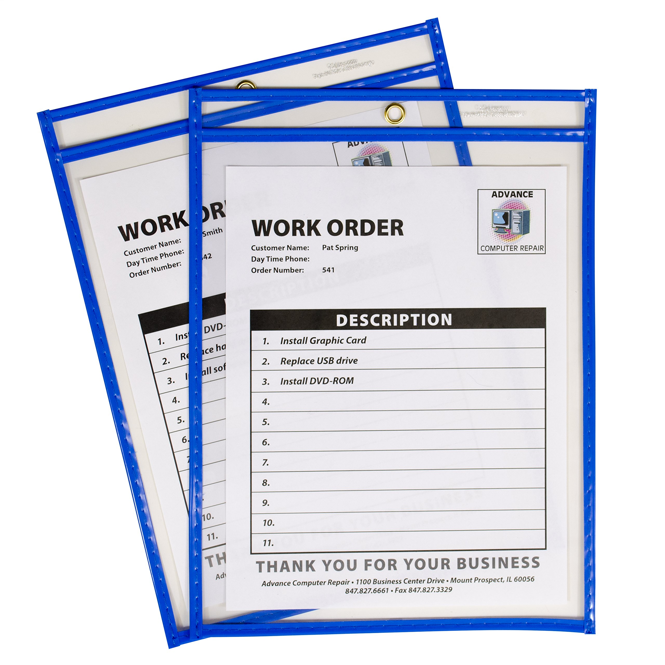 C-Line Neon Stitched Shop Ticket Holders, Blue, Both Sides Clear, 9 x 12 Inches, 15 per Box (43915) by C-Line