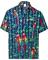 *La Leela* Pulsante Pappagallo Uomini Giù Breve Tasca sulla Manica della Camicia Hawaiana Blu