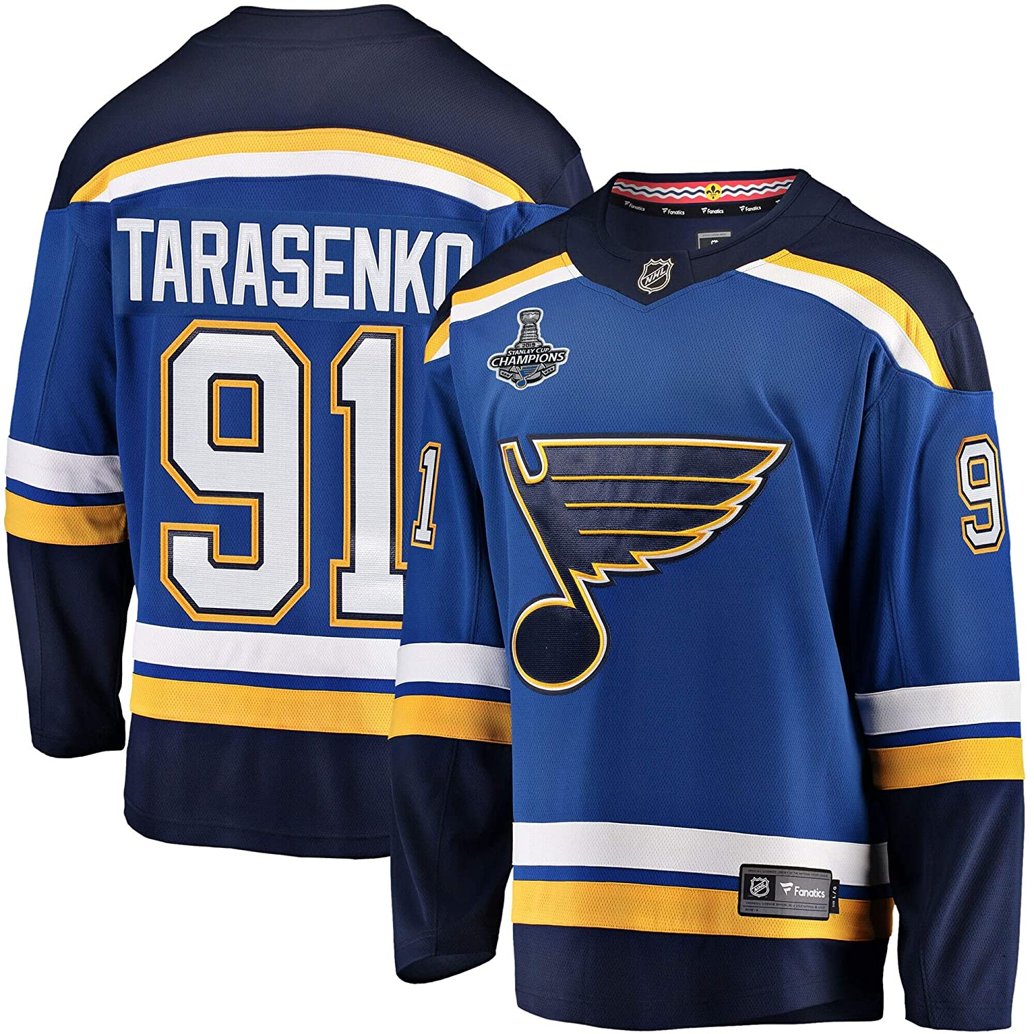 Holerry Mens #91/_Vladimir/_Tarasenko/_St 2XL Louis/_Blues/_Blue 2019 Stanley/_Cup Champions Breakaway Patch Player Jersey
