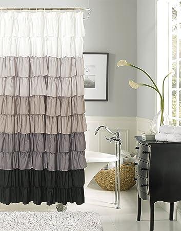 Dainty Home Flamenco Ruffled Shower Curtain, 72 By 72 Inch, Black/White