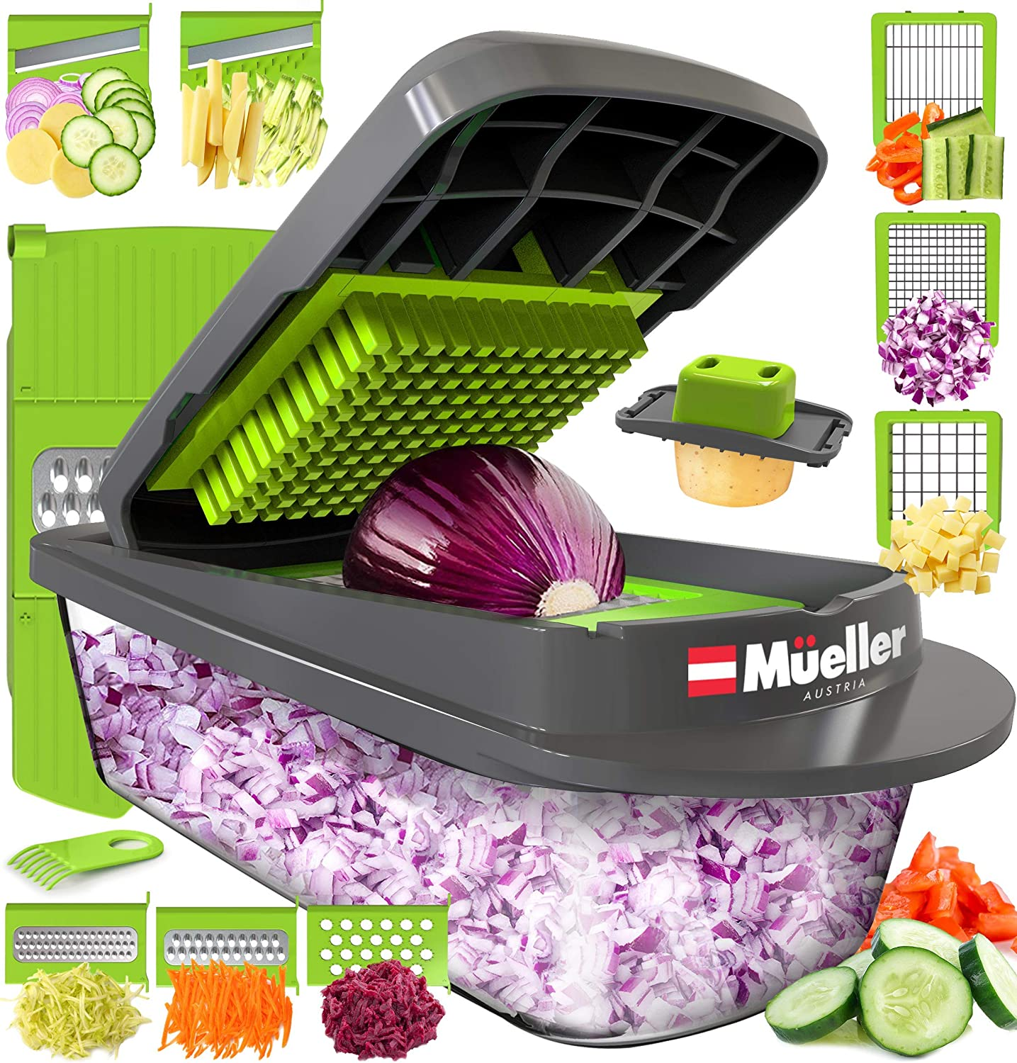 Mueller Austria Pro-Series Onion Chopper, Slicer, Vegetable Chopper, Cutter, Dicer, Spiralizer Vegetable Slicer with Container and 8 Blades