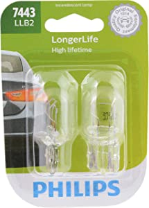 Philips 7443LLB2 LongerLife Miniature Bulb, 2 Pack