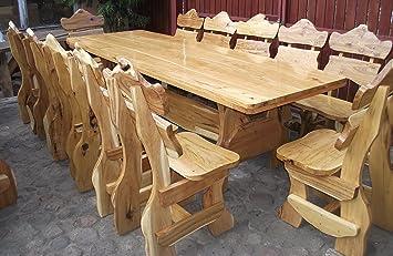 Rustique Banc de jardin bois massif 1 table + 12 chaises d ...