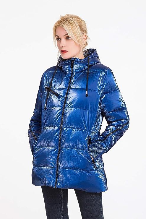 Leichte Kapuzenoberbekleidung Aus Seide Damen Gl/änzende Wasserdichter Pufferregenmantel Polydeer Warme Winterjacke