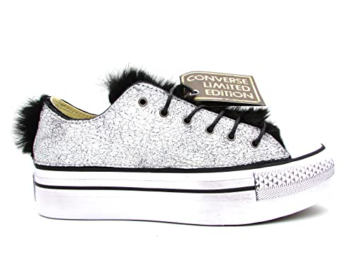 CONVERSE AS OX PLATFORM CANVAS7LEATHER SNEAKERS BIANCO NERO 559066C