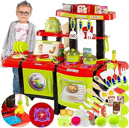 Kinderplay Cocina Juguete, Cocinita con Características de Sonidos, Luces y Agua Incluye 36 Accesorios, para Ninos con Toster KP6031: Amazon.es: Juguetes y juegos