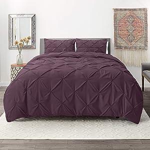 Nestl Bedding 3 Piece Pinch Pleat Duvet Cover Set | Purple Duvet Cover with 2 Pillow Shams |Microfiber King Duvet Cover Set