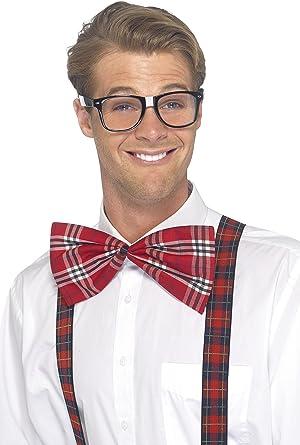 Red Braces Bow Tie Geek Nerd Bowtie Fancy Dress Costume w// Glasses