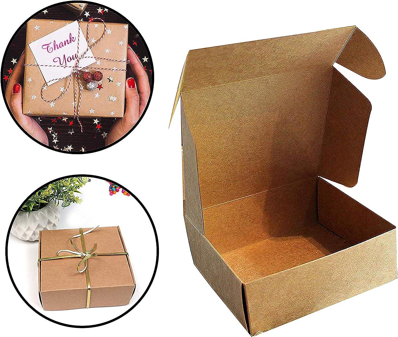Kraft Cajas de Regalo (Pack de 50) - 13x12x5cm Kraft Marrón Cajas de Regalo Autoensamblables para Presentación Regalo, Fiestas, Bodas, Pasteles, Galletas y Joyas