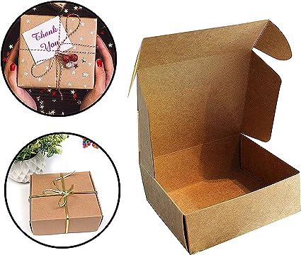 Kraft Cajas de Regalo (Pack de 10) - 13x12x5cm Marrón Kraft Papel ...