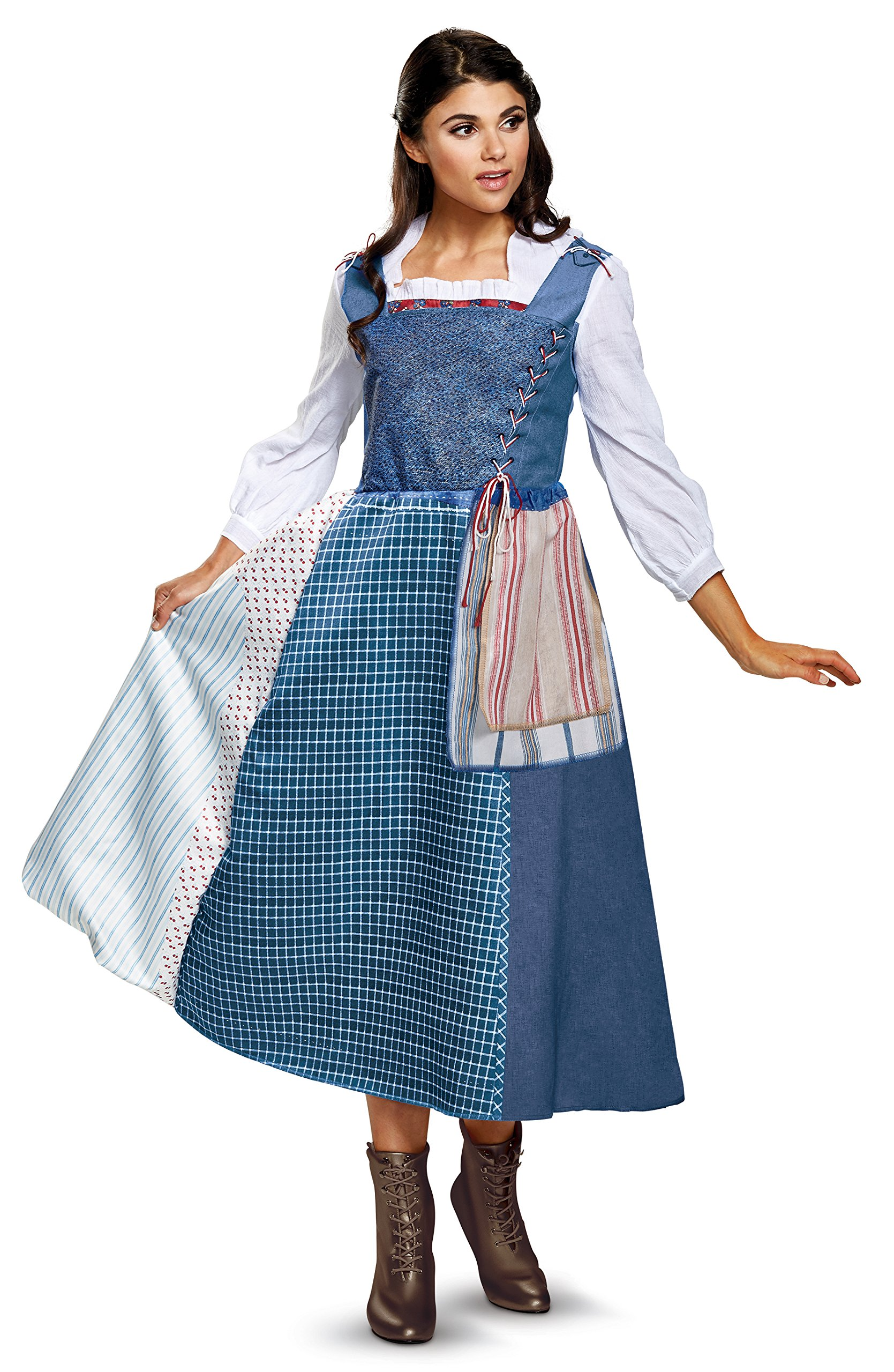 Disney Women's Belle Village Dress Deluxe Adult Costume, Multi, Medium
