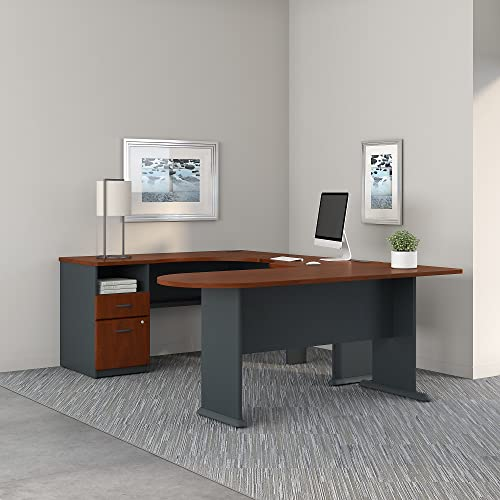 Series A U Shaped Corner Desk with Peninsula and Storage