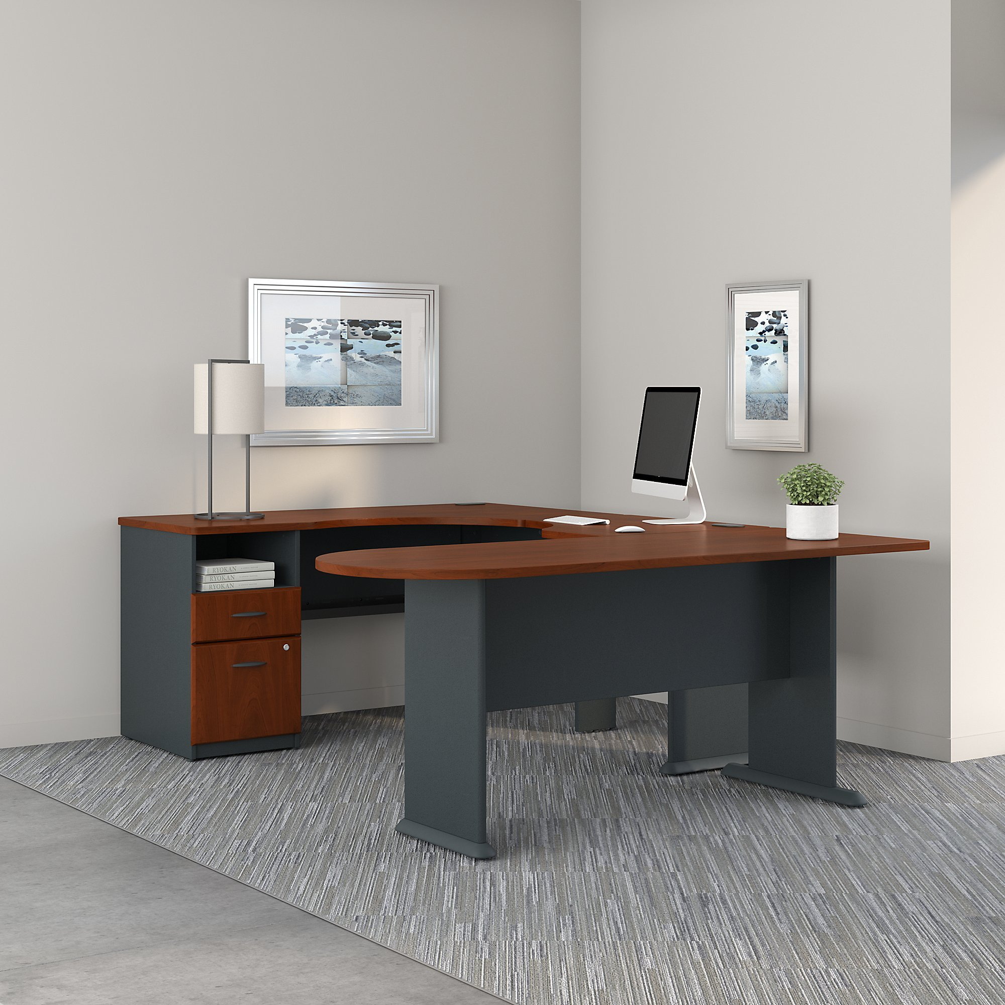 Series A U Shaped Corner Desk with Peninsula and Storage by Bush Business Furniture