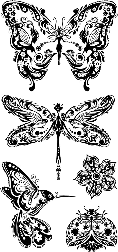 Inkadinkado Clear Acrylic Stamps Set Mindscapes 99121 Butterfly Butterflies