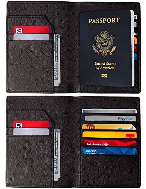 c982354aabdc RFID Blocking Passport Holder – Genuine Leather RFID Passport Holder – Slim  Passport Wallet Cover Case