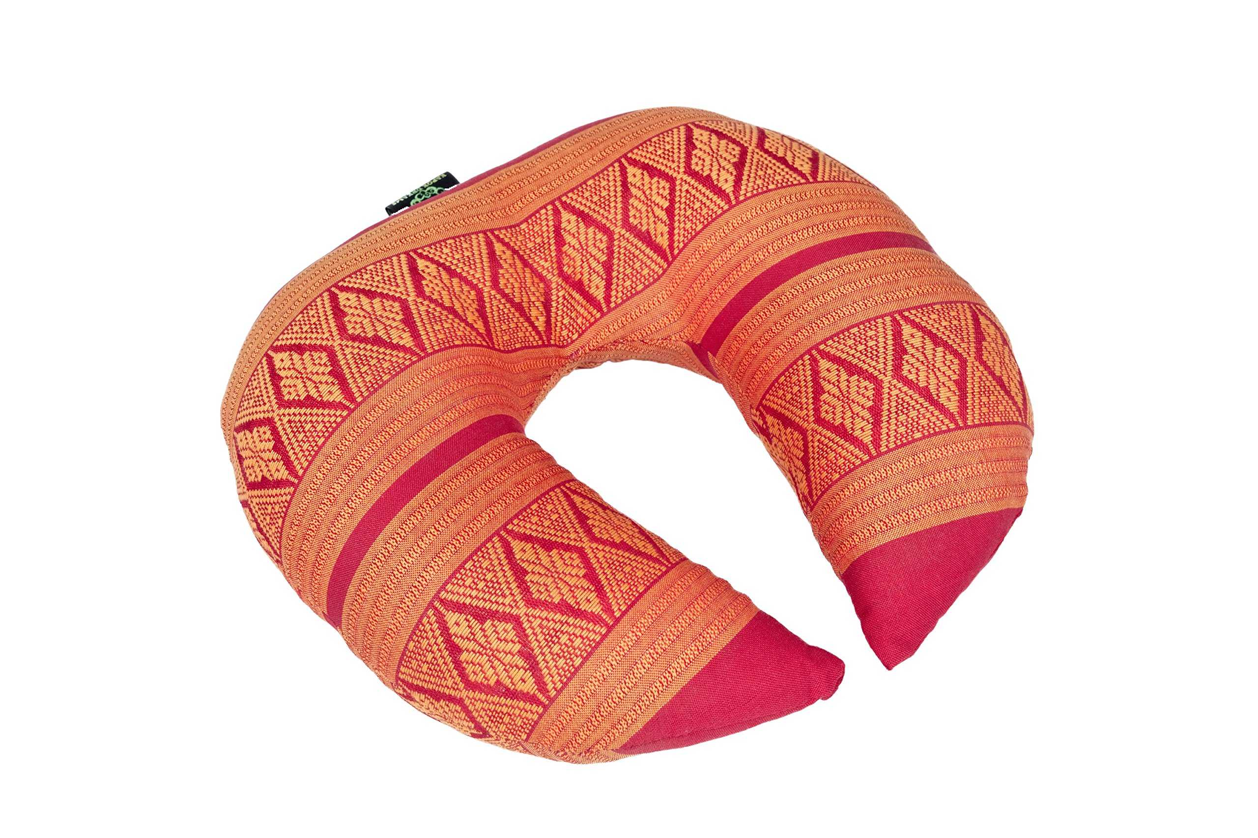 Face Cradle Cushion, 12''x11''x4'', Massage Pillow 100% Kapok Filled Head Rest Orange & Red Thai Design.Neck Cushion by Kapok Dreams