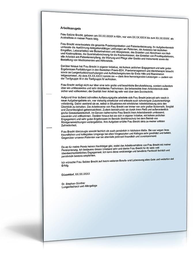 Arbeitszeugnis Arzthelferin Note Eins Word Dokument Amazonde
