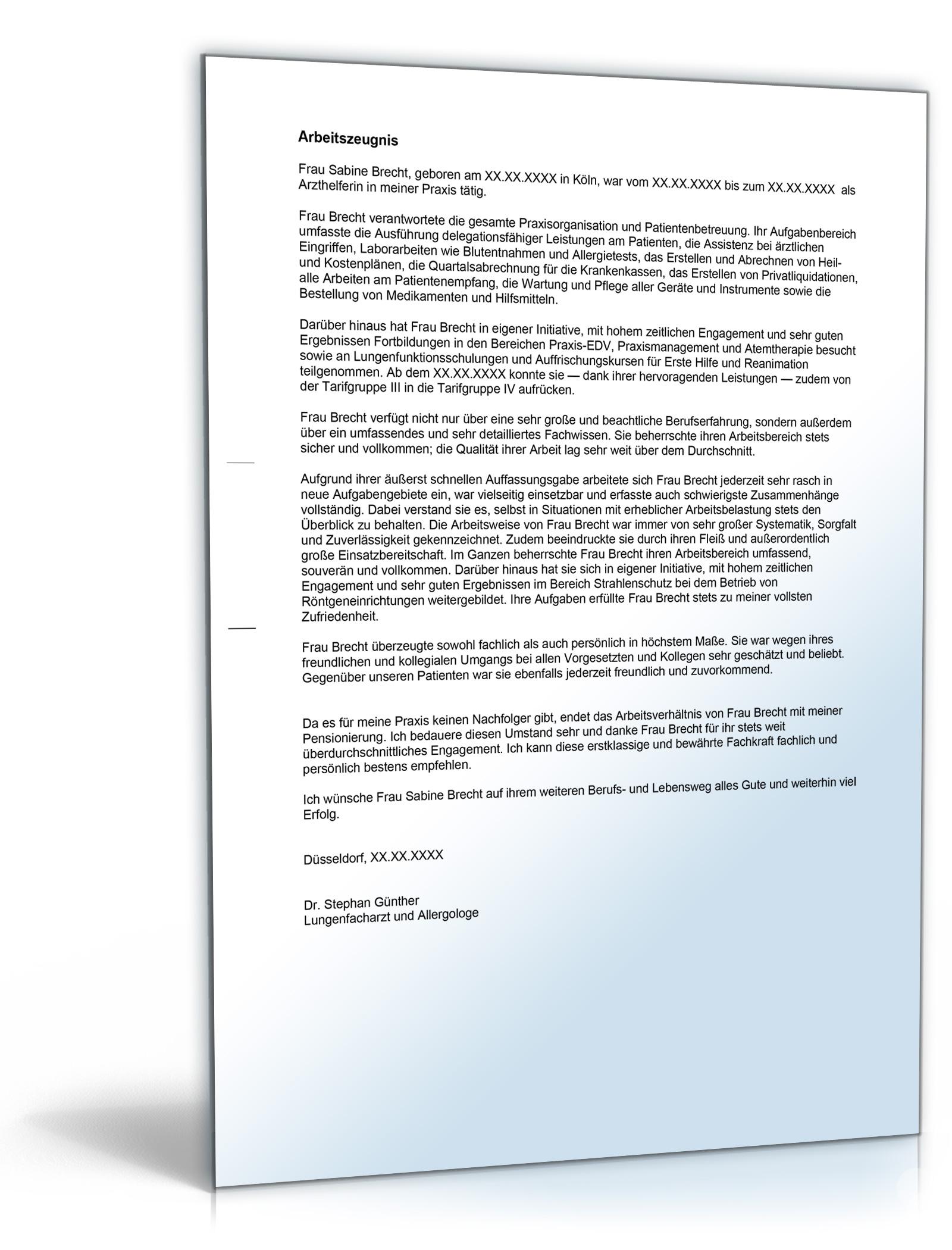 Arbeitszeugnis Arzthelferin Note Eins [Word Dokument]: Amazon.de ...