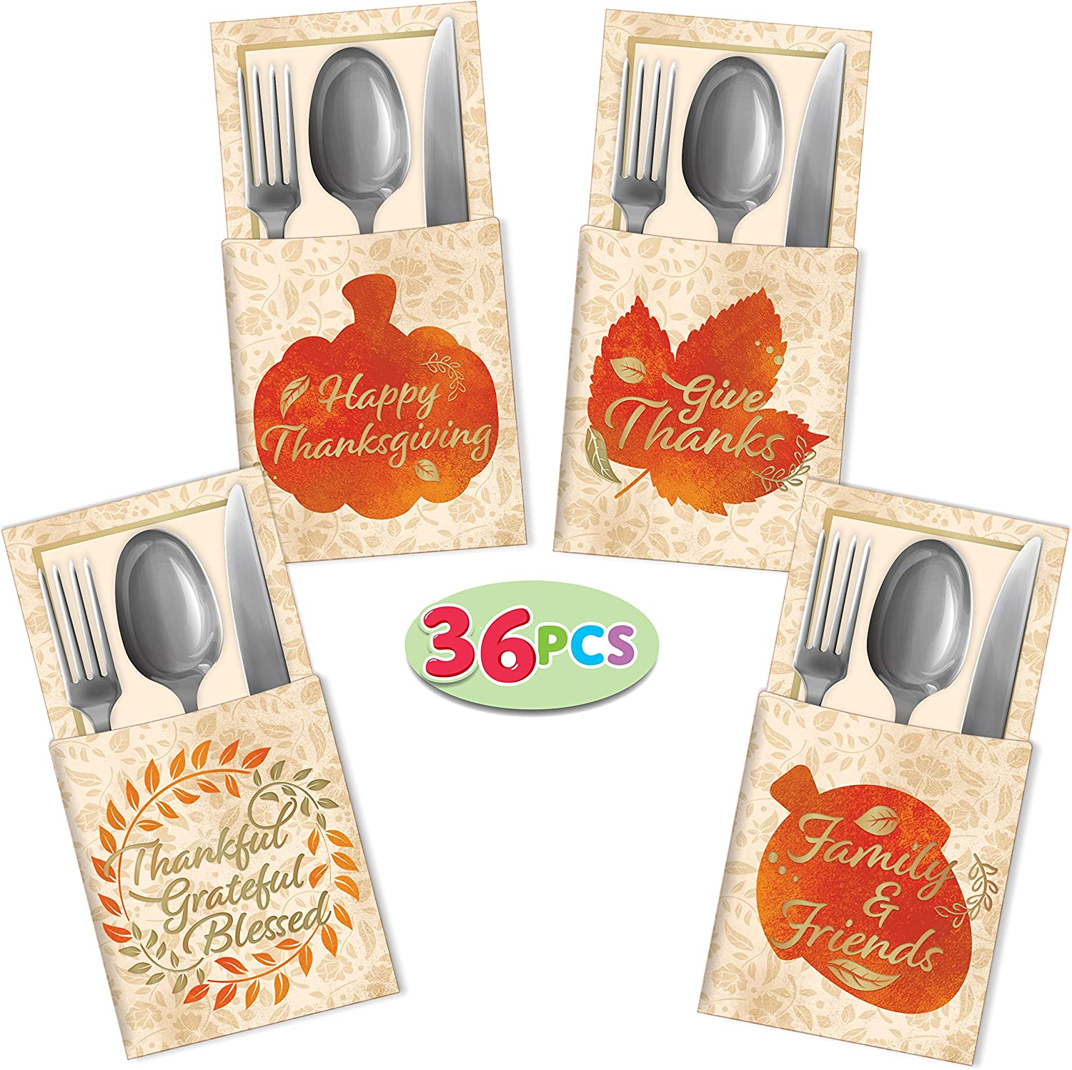 36 Thanksgiving Turkey Cutlery Decorative Gold Foil Utensil Holders for Autumn Fall Harvest Party Favor Supply Dinner Table Decor.