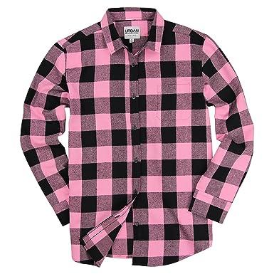187d09ed6c6 Urban Boundaries Womens Buffalo Plaid Long Sleeve Flannel Shirt w Point  Collar (Black