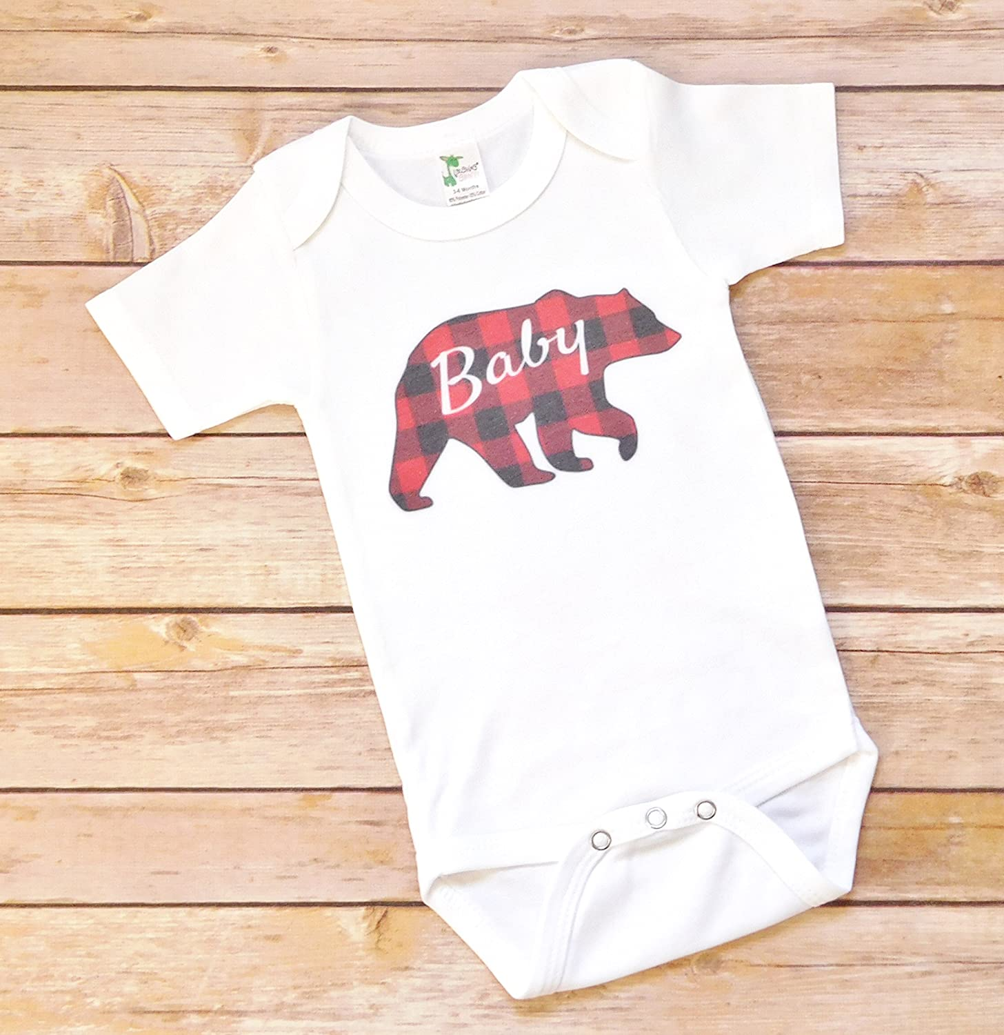 Baby Bodysuit - Baby Bear Red and Black Buffalo Plaid