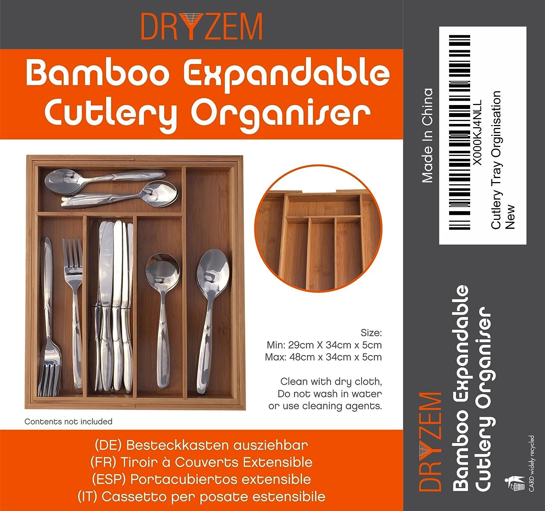 DRYZEM Bandeja para cubiertos ajustable, bambú, resistente y ecológico: Amazon.es: Hogar