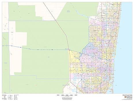 Amazon Com Broward County Florida 48 X 36 Matte Plastic Wall