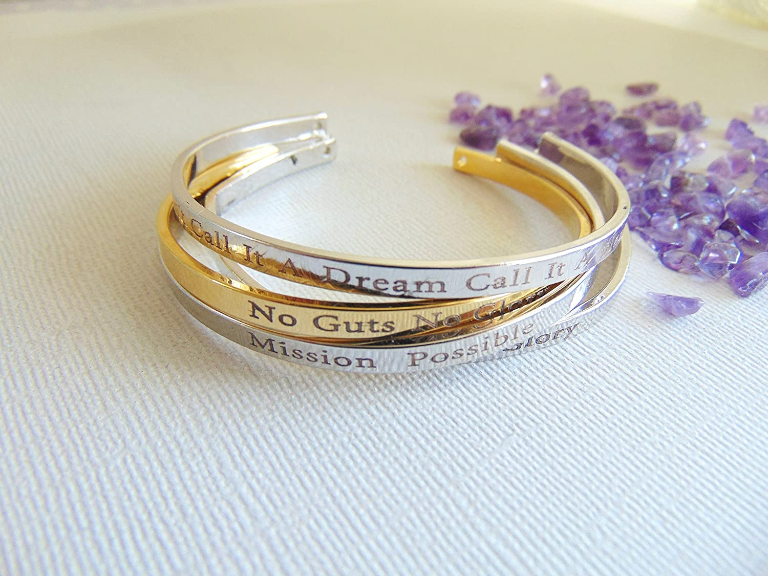 2175ae09122 Amazon.com: 16K gold open bangle custom text layered bracelet Secret  message cuff Hand stamped quote Mantra band Bracelet Personalized Cuff  Bracelet: ...