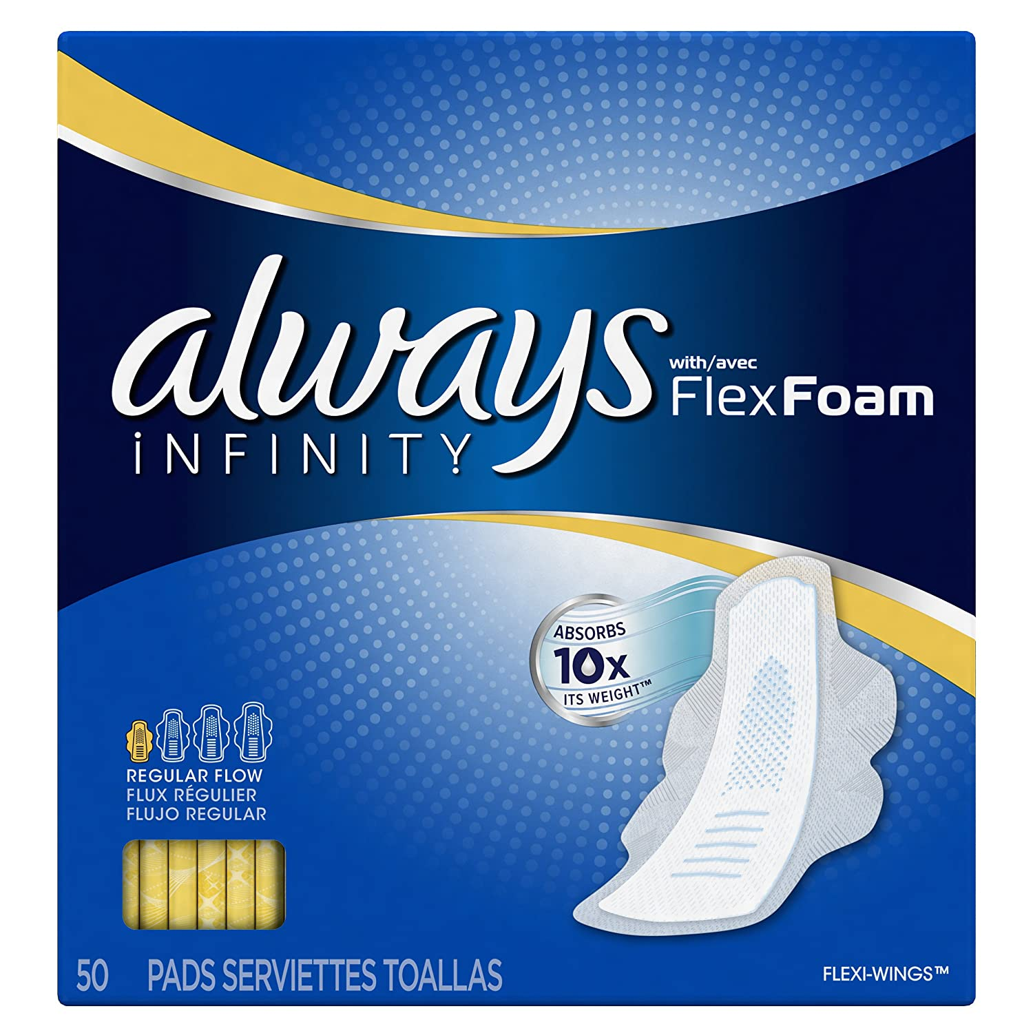 Amazon.com: Always Infinity Pads with Wings, Regular, 50 Count: Health & Personal Care