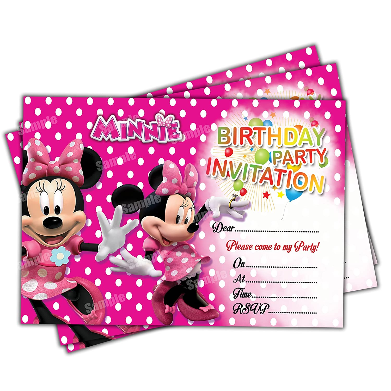 20 x Minnie Mouse Kids Birthday Party Invitations Invites Cards Quality Girls Birthday Invitations