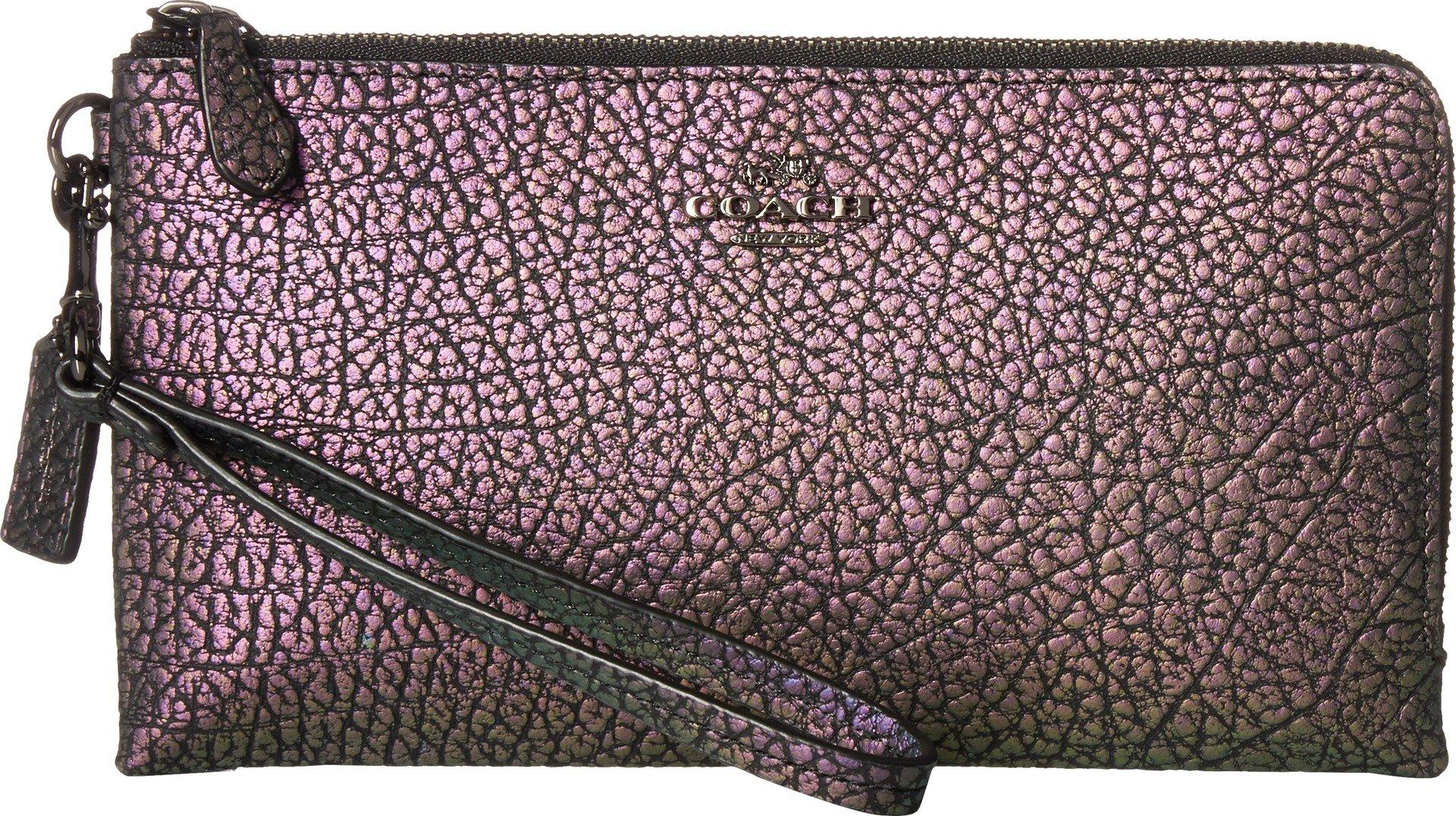 COACH Women's Pebbled Leather Double Zip Wallet Dk/Hologram One Size