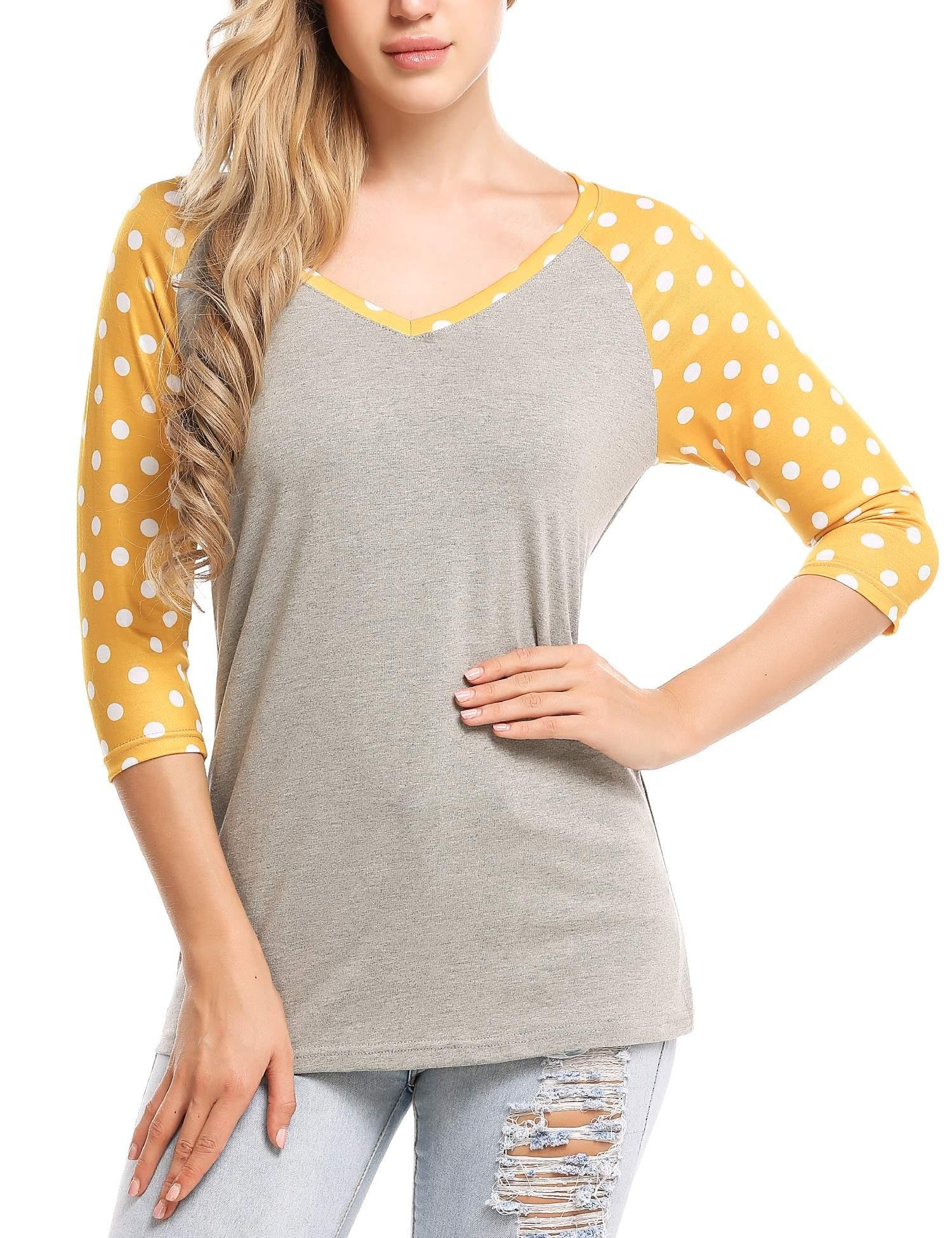 Zeagoo Women Baseball Tee Shirt Dot Tops 3/4 Raglan Sleeves Casual Blouse Yellow M