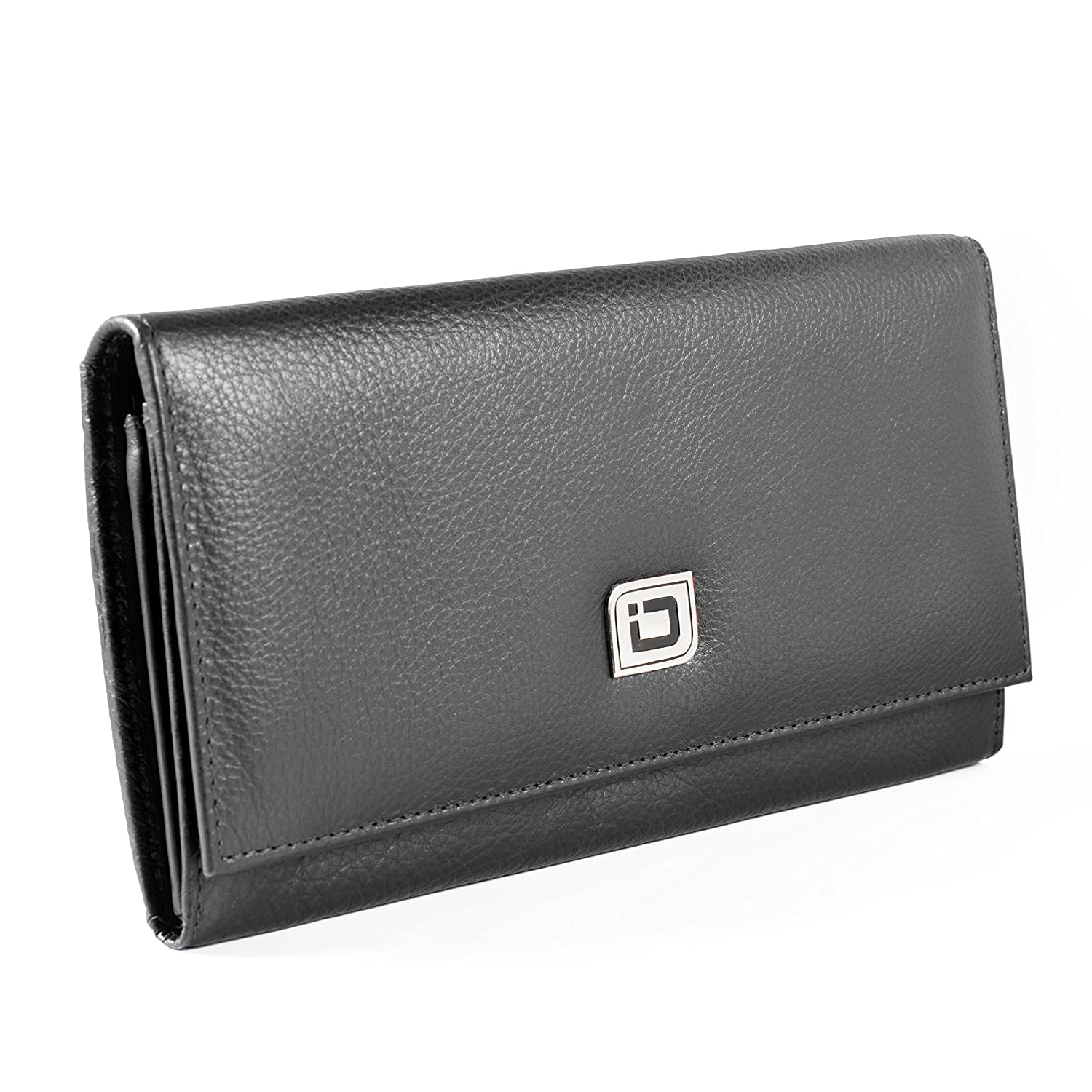 Black RFID Wallet Ladies Clutch  RFID Predective Ladies Wallet  RFID Secure Wallets Stop Electronic Pickpocketing (Brown)