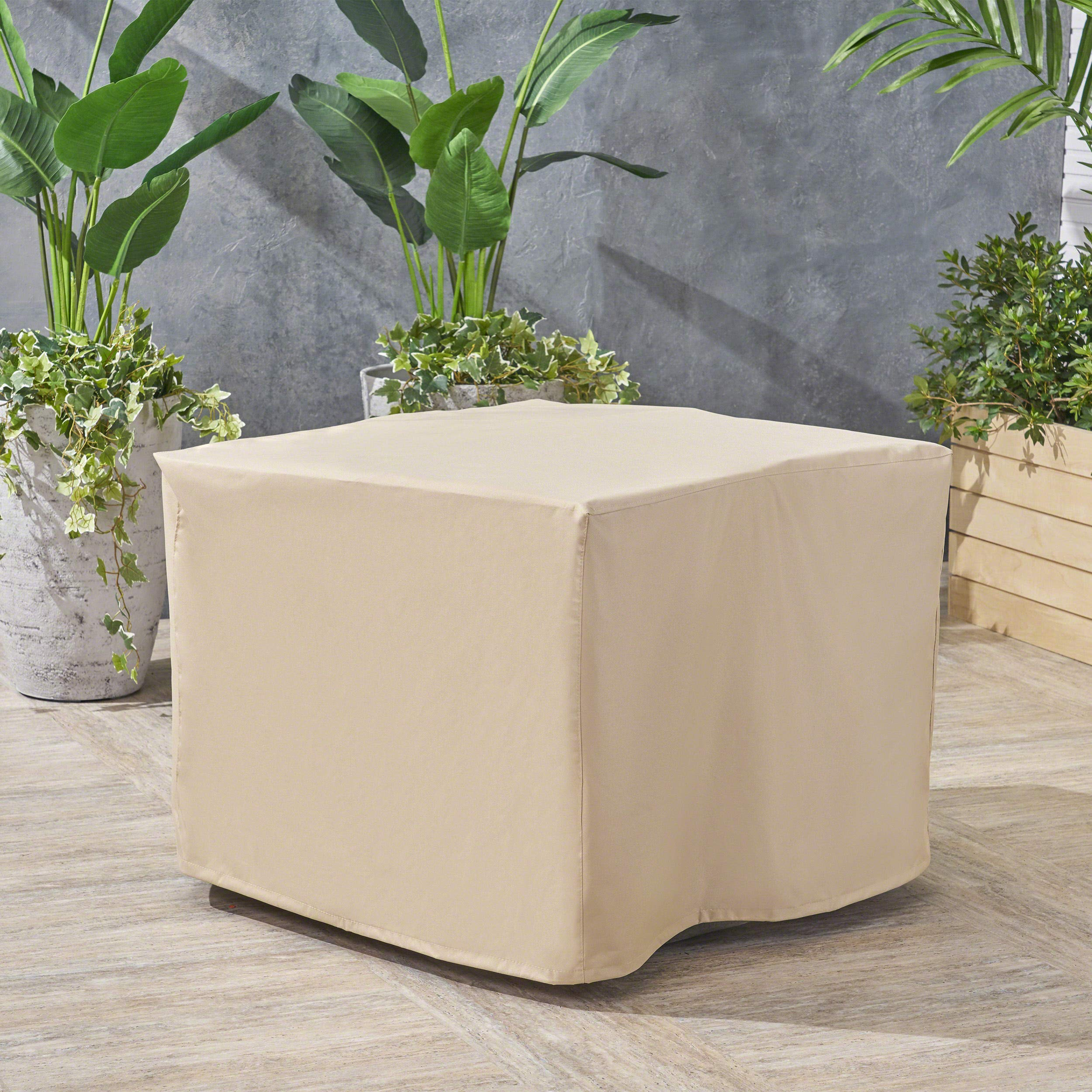 Christopher Knight Home 305094 Paz Outdoor 34'' Waterproof Square Fire Pit Cover, Beige by Christopher Knight Home