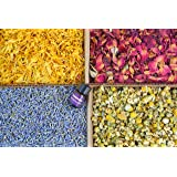 bMAKER Bulk Dried Edible Botanical Flowers Kosher Certified (4 Packet) - Best for Tea, Baking & Soap Making Supplies- 2 Cups Each of Ultra Blue Lavender, Marigold, Chamomile and Red Rose Petals