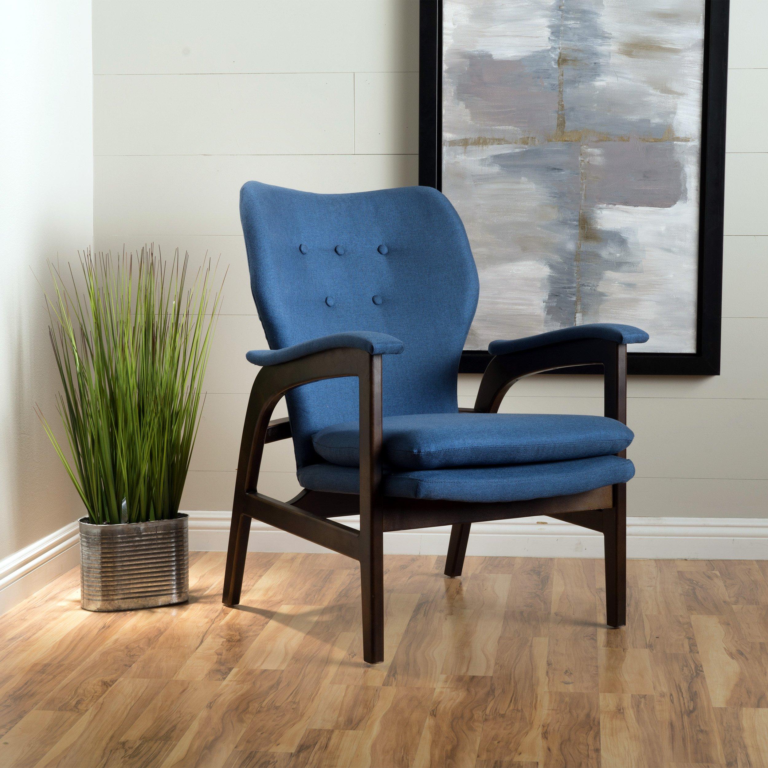 Christopher Knight Home 299413 Joseph Mid Century Modern Fabric Arm Chair, Dark Navy