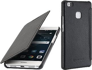 StilGut Book Type Case Senza Clip, Custodia in Vera Pelle a Libro per Huawei P9 Lite, Nero