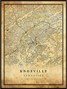 Knoxville map Vintage Style Poster Print   Old City Artwork Prints   Antique Style Home Decor   Tennessee Wall Art Gift   Antique map Art 8.5x11