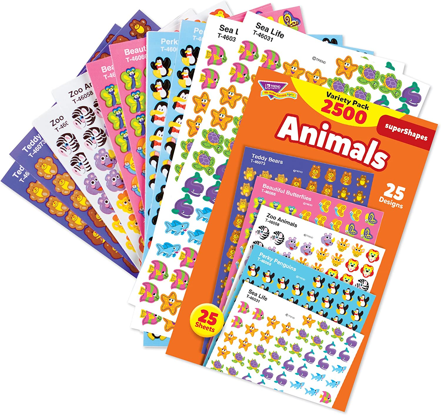 Trend Enterprises Super Shapes Animal Stickers Incentive Variety Pack 13 32 In Pack Of 2500 T 46904 Themed Classroom Displays And Decoration Office Products