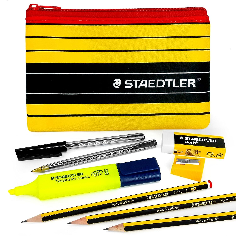 Staedtler Noris Pencil Case set–430m con custodia a Staedtler evidenziatore, gomma, temperamatite, matita, penna a sfera e portamine Noris 120grafite– Staedtler - Noris
