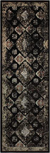 Superior Mayfair Collection Area Rug, 8mm Pile Height with Jute Backing, Vintage Distressed Medallion Pattern, Fashionable and Affordable Woven Rugs – 2 7 x 8 Runner, Black