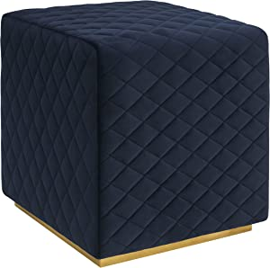 Tov Furniture Kent Collection Velvet and Brass Ottoman, Navy