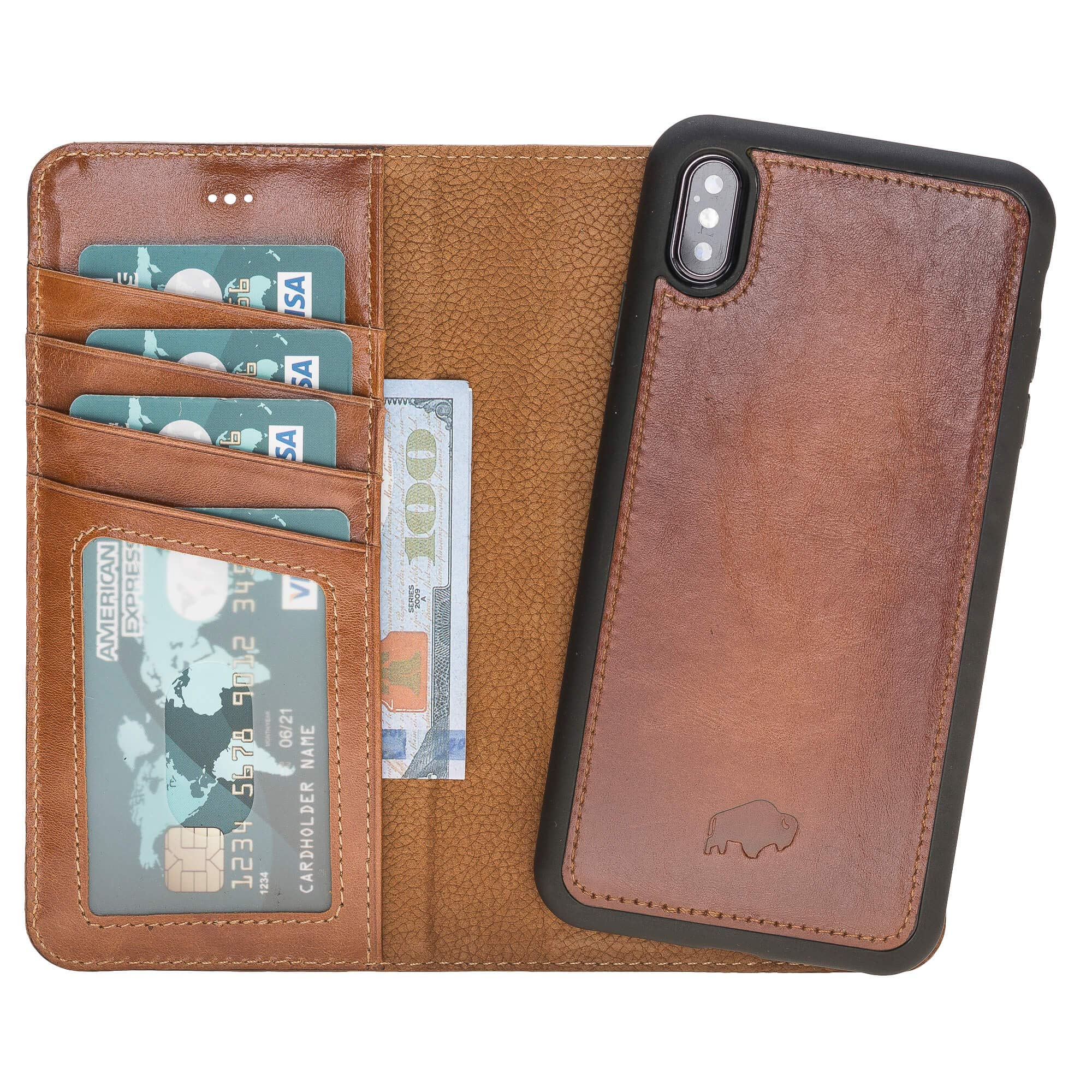 Burkley Case Detachable Leather Wallet Case for Apple iPhone Xs MAX with Magnetic Closure and Premium Snap-on | Book Style Cover with Card Holders and Kickstand (Burnished Tan) by Burkley Case