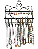 ARAD Metal Wall Mount Heart Shaped Jewelry Display Rack For Necklaces, Earrings, Bracelets, Black